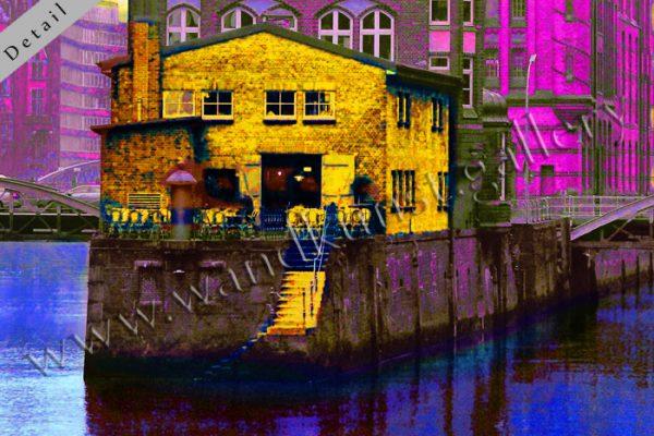 Detail eines Pop Art Wandbildes mit Metalliclackierung der Extraklasse: Die Speicherstadt in Hamburg. Sie ist Weltkulturerbe. Ein Blick von der Poggenmühlenbrücke Richtung Wasserschloss und Dienerreihe