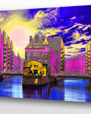 Ein Pop Art Wandbild mit Metalliclackierung der Extraklasse: Die Speicherstadt in Hamburg. Sie ist Weltkulturerbe. Ein Blick von der Poggenmühlenbrücke Richtung Wasserschloss und Dienerreihe
