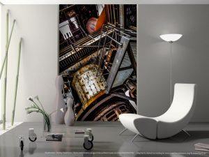 Der alte Maschinenraum mit Zahnrad - Kunst und Industrie im Wohnzimmer. Wandekoration im XXL Format. Die künstlerische Seite gewesener Produktionsstätten der Schwerindustrie am Beispiel eines Hochofens.
