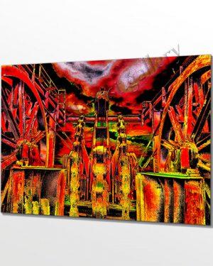 Feuerrote Spitze auf dem Zechenturm. Das Ruhrgebiet ist bunter als man denkt. Wandkunst für Fans des Kohlenpott. Perspektivische Ansicht..